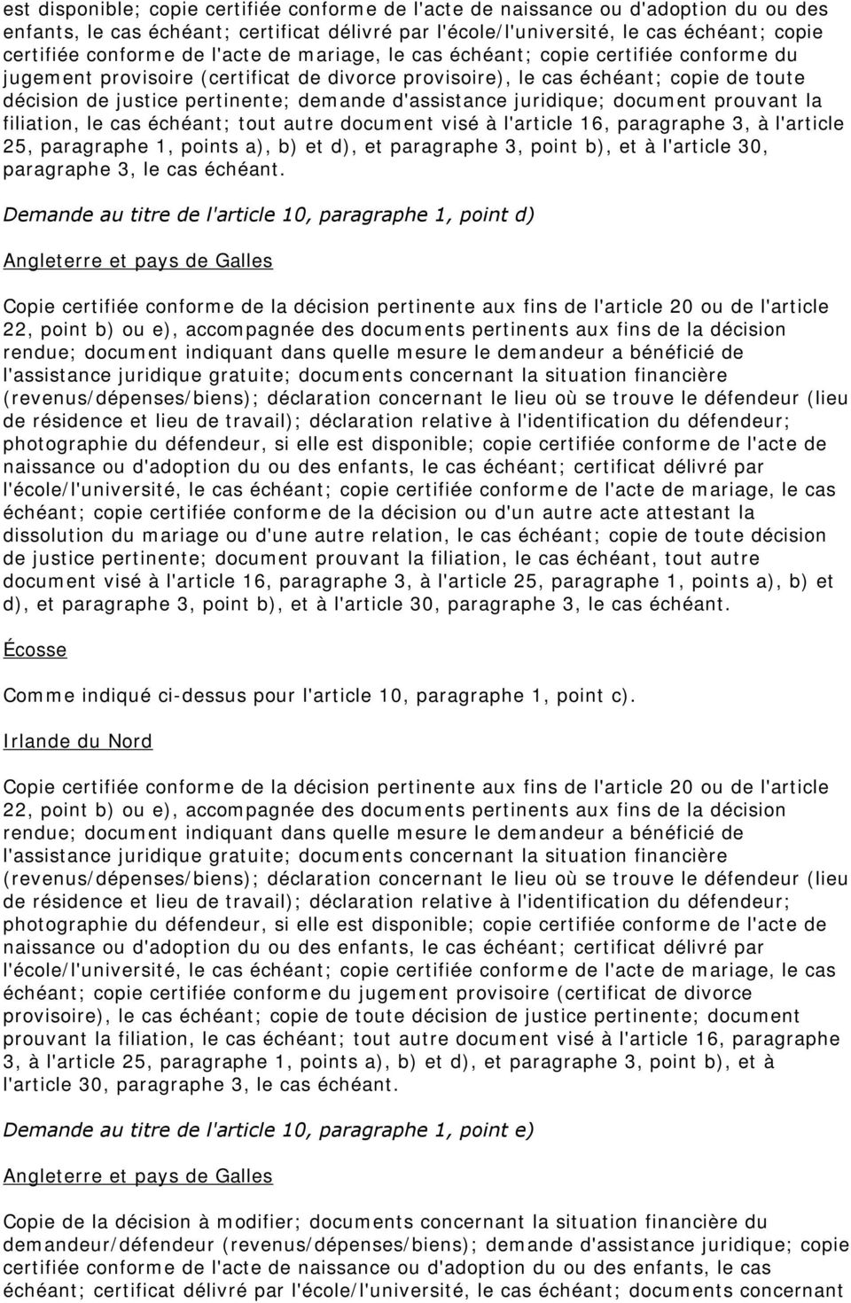 d'assistance juridique; document prouvant la filiation, le cas échéant; tout autre document visé à l'article 16, paragraphe 3, à l'article 25, paragraphe 1, points a), b) et d), et paragraphe 3,