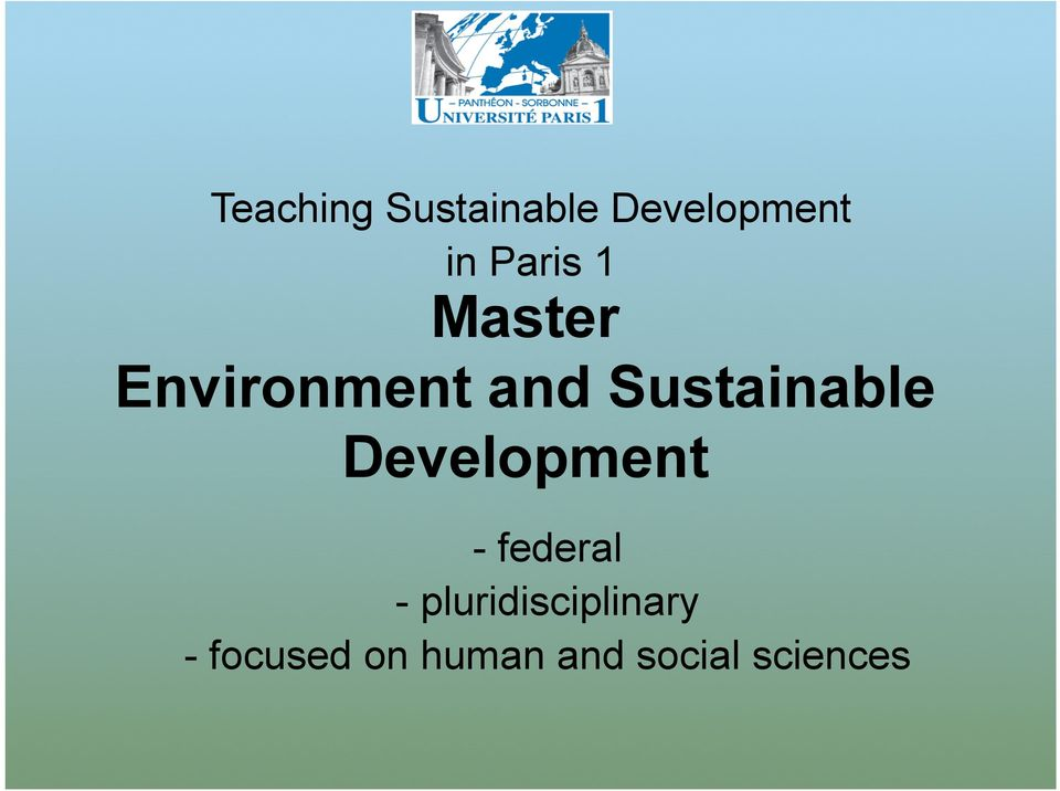 Sustainable Development - federal -