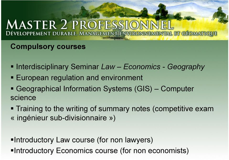 Training to the writing of summary notes (competitive exam «ingénieur