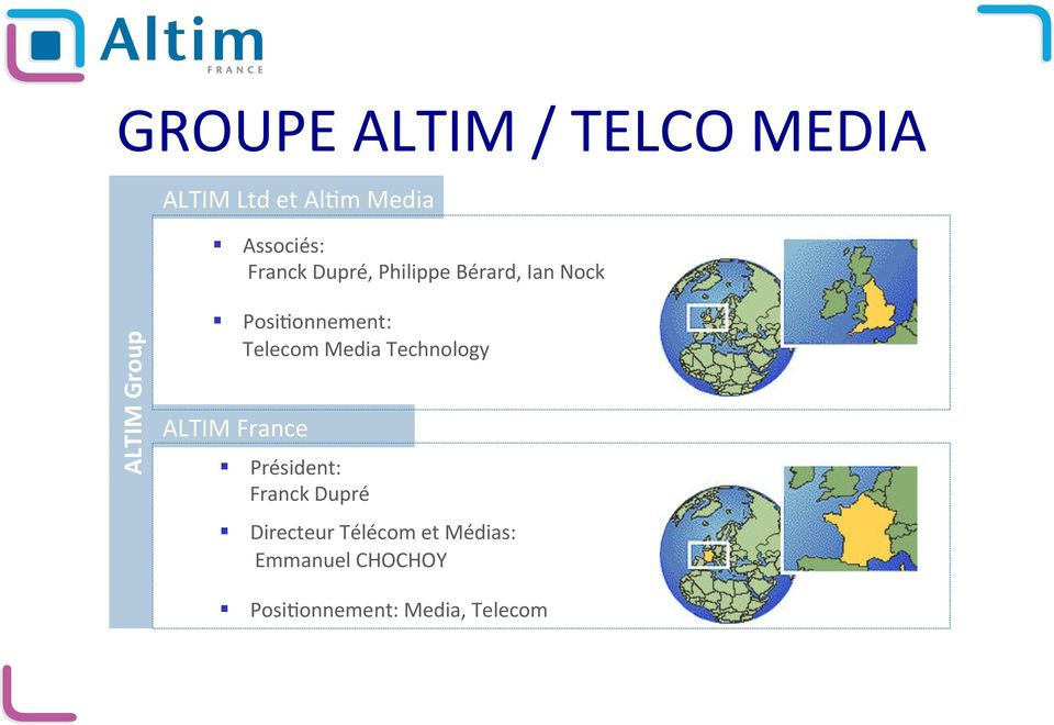 Posi)onnement: Telecom Media Technology Président: Franck Dupré