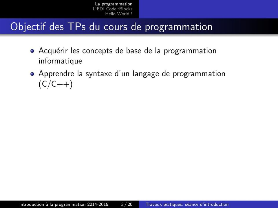 syntaxe d un langage de programmation (C/C++) Introduction à la
