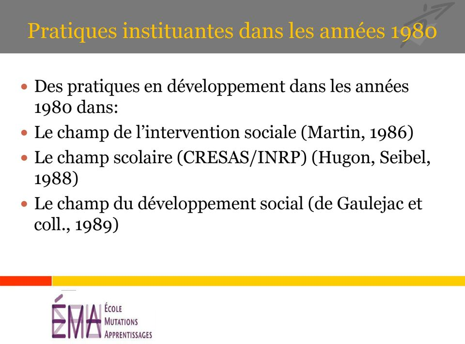 intervention sociale (Martin, 1986) Le champ scolaire