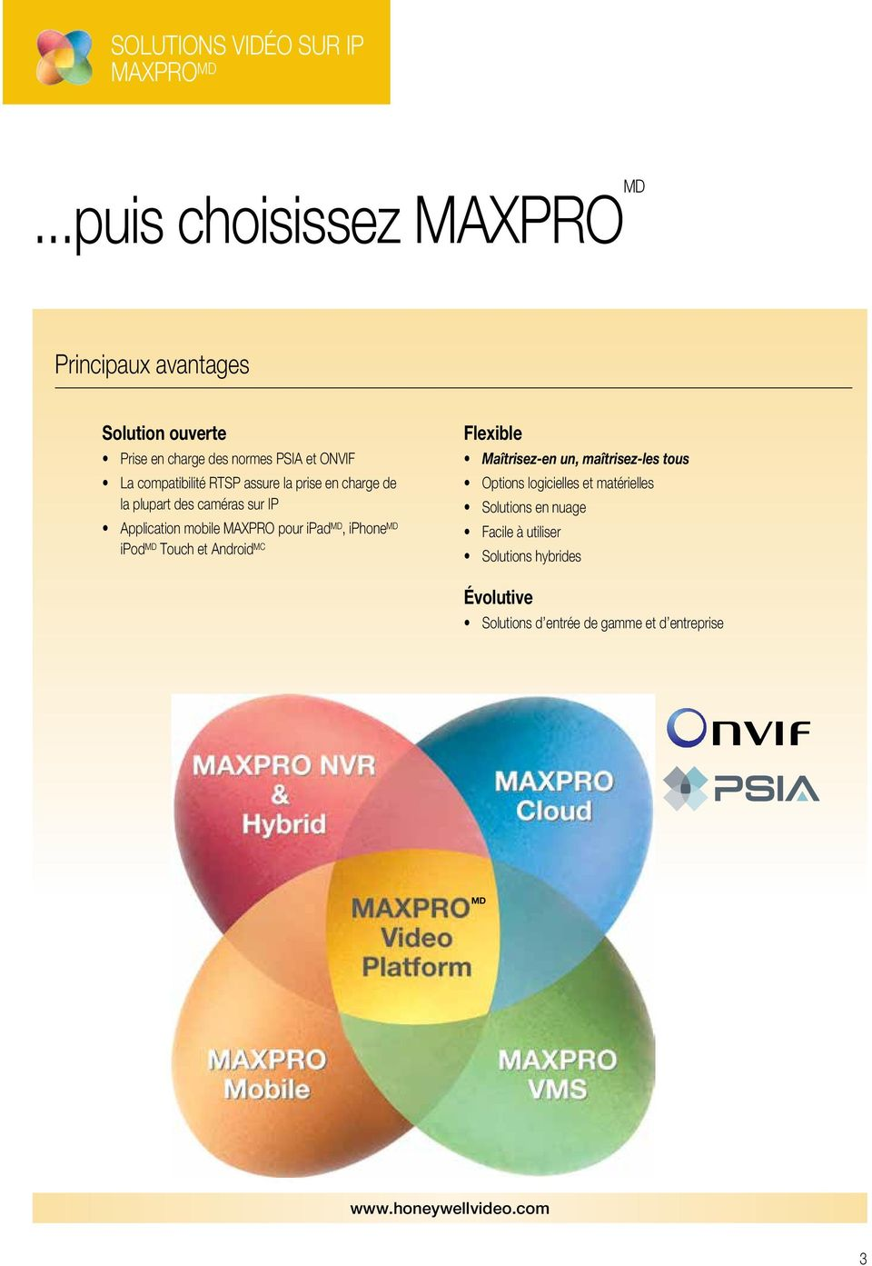 RTSP assure la prise en charge de la plupart des caméras sur IP Application mobile MAXPRO pour ipad MD, iphone MD ipod MD