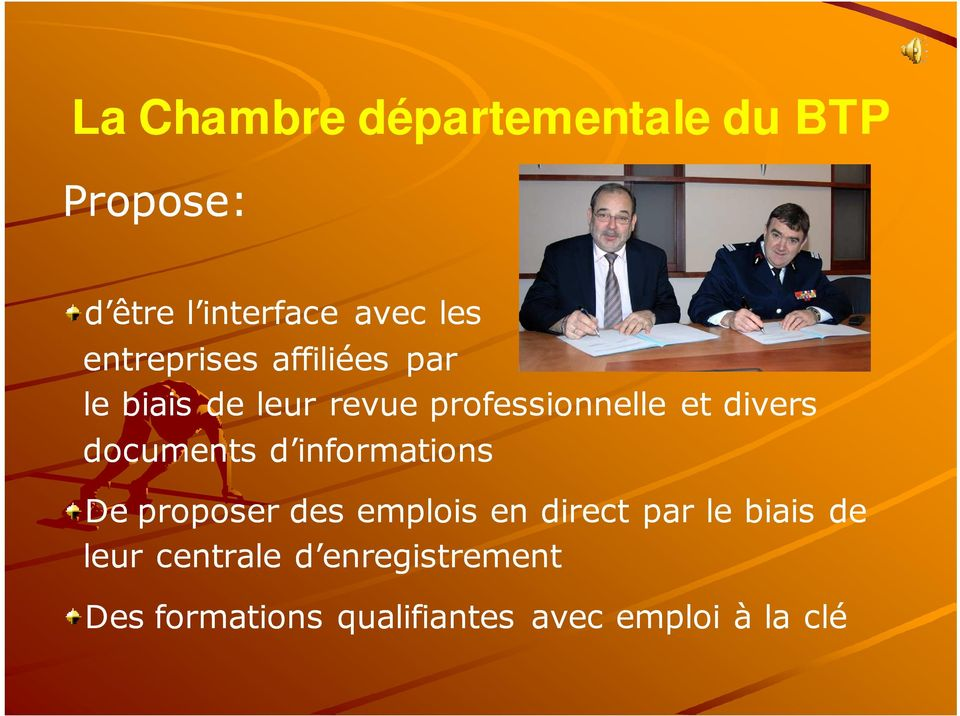 documents d informations De proposer des emplois en direct par le biais de