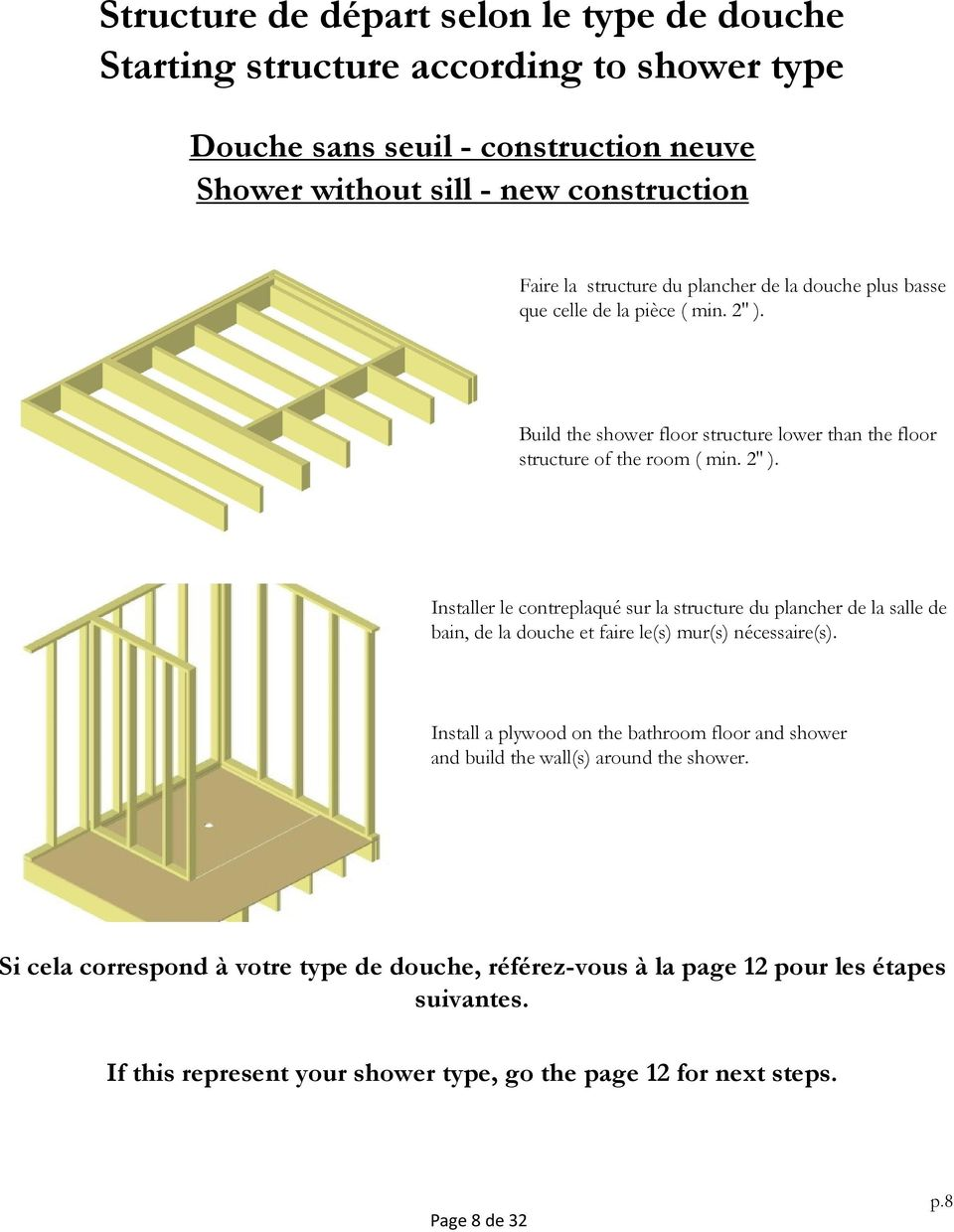 Build the shower floor structure lower than the floor structure of the room ( min. 2'' ).