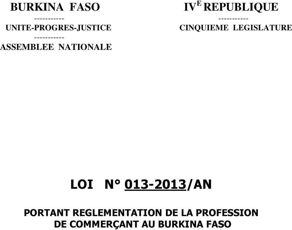 ----------- ASSEMBLEE NATIONALE LOI N 013-2013/AN