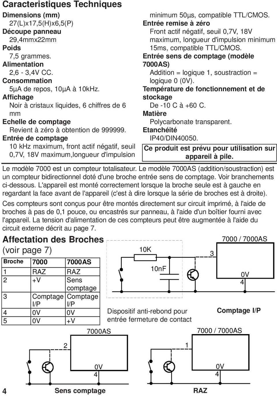 Entrée de comptage 0 khz maximum, front actif négatif, seuil 0,7V, 8V maximum,longueur d'impulsion minimum 50µs, compatible TTL/CMOS.