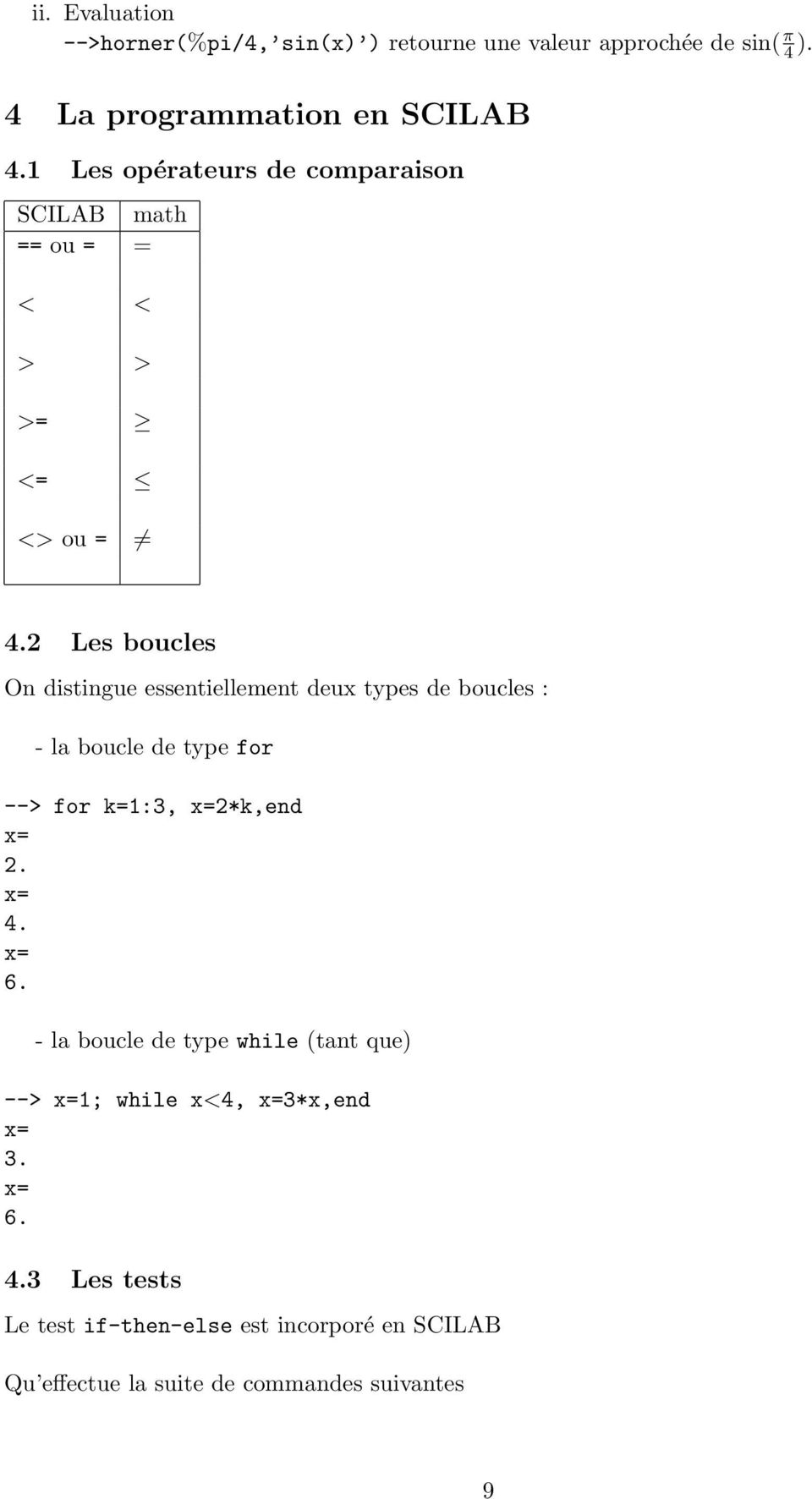 2 Les boucles On distingue essentiellement deux types de boucles : - la boucle de type for --> for k=1:3, x=2*k,end x= 2. x= 4.