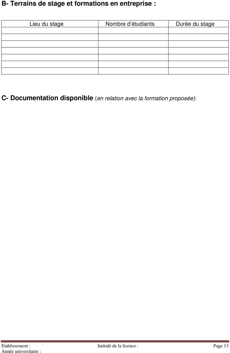 Documentation disponible (en relation avec la