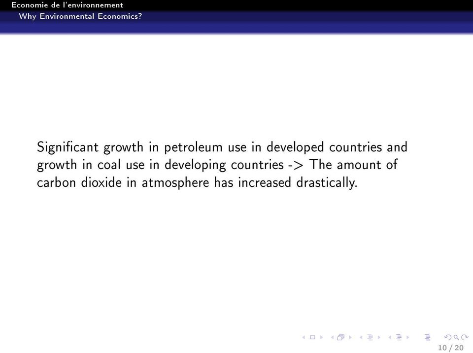 developing countries -> The amount of carbon
