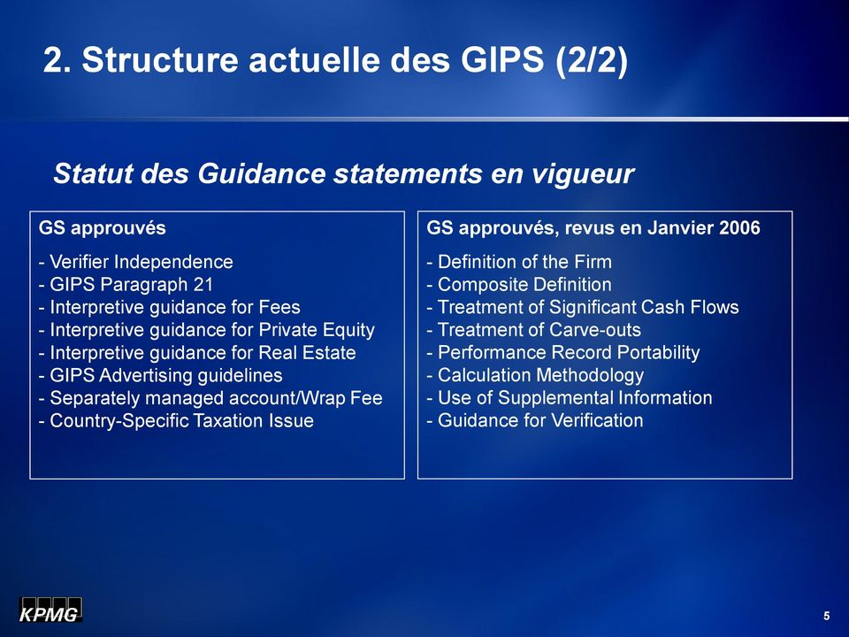 account/wrap Fee - Country-Specific Taxation Issue GS approuvés, revus en Janvier 2006 - Definition of the Firm - Composite Definition - Treatment of