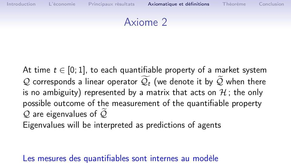 the only possible outcome of the measurement of the quantifiable property Q are eigenvalues of Q