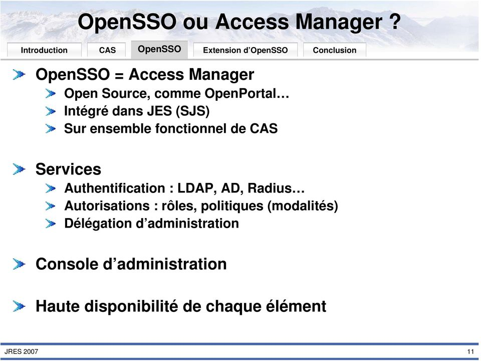(SJS) Sur ensemble fonctionnel de Services Authentification : LDAP, AD, Radius