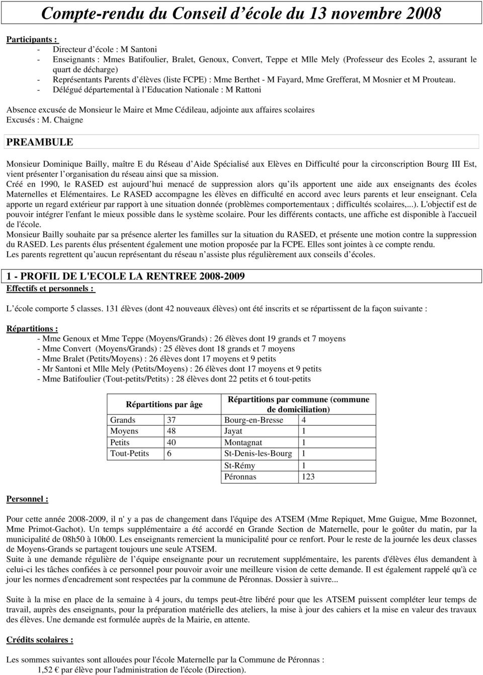 - Délégué départemental à l Education Nationale : M Rattoni Absence excusée de Monsieur le Maire et Mme Cédileau, adjointe aux affaires scolaires Excusés : M.