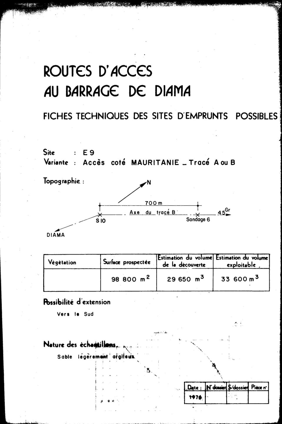 0 _Axe du tracée _X ~ S 0 Sondage 6 Surfaœ prospectée Estimation du volume Estimation du volume de la