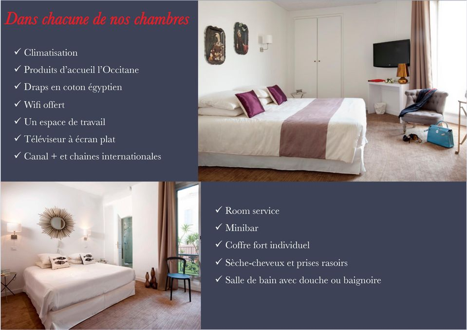 plat Canal + et chaines internationales Room service Minibar Coffre fort