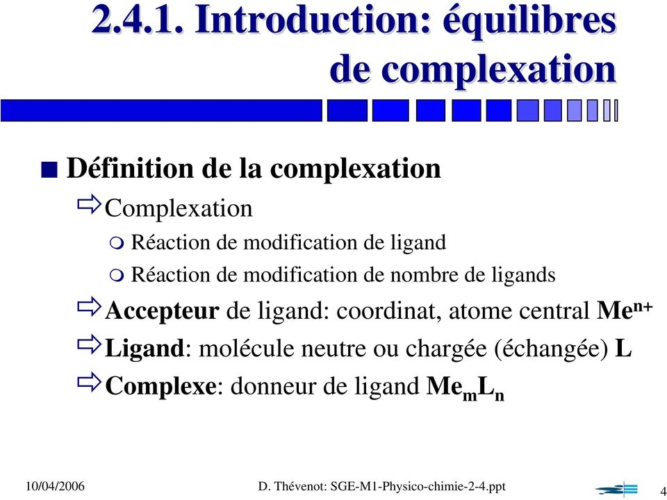 Complexation Réaction de modification de ligand Réaction de modification de