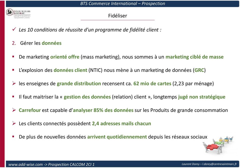 marketing de données(grc) les enseignes de grande distribution recensent ca.