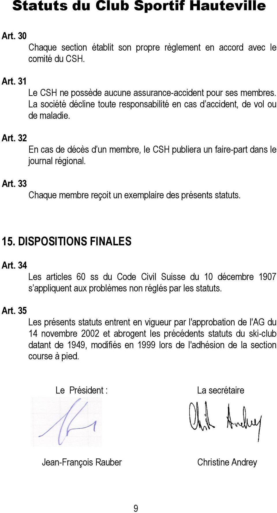 15. DISPOSITIONS FINALES Art.