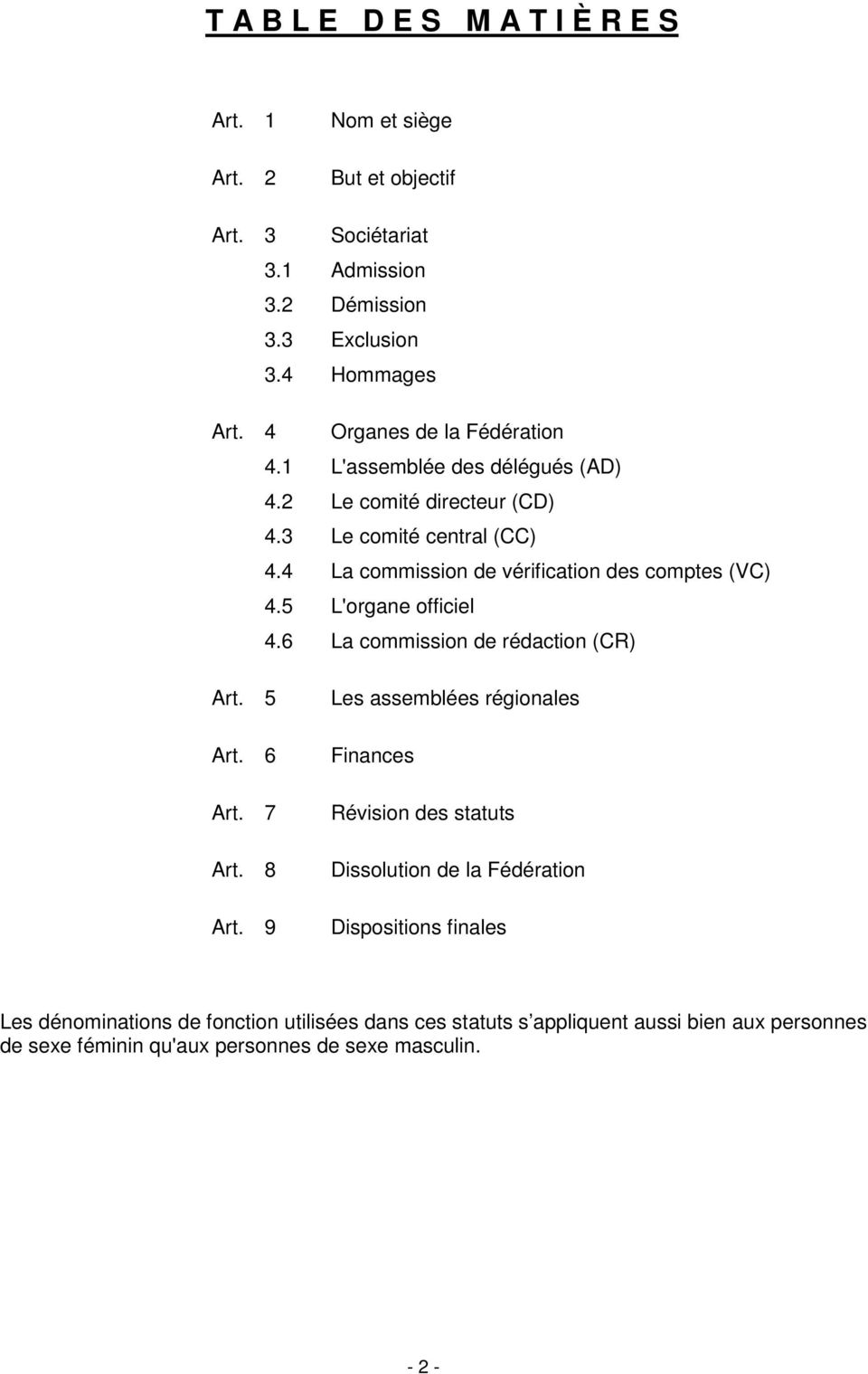 4 La commission de vérification des comptes (VC) 4.5 L'organe officiel 4.6 La commission de rédaction (CR) Art. 5 Art. 6 Art. 7 Art. 8 Art.