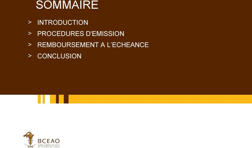 PROCEDURES D'EMISSION
