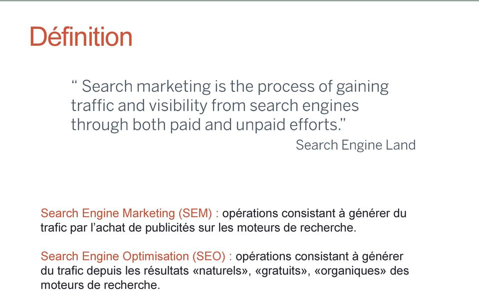 Search Engine Optimisation (SEO) : opérations consistant à générer du