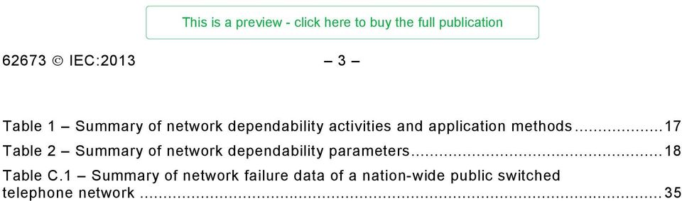 .. 17 Table 2 Summary of network dependability parameters.
