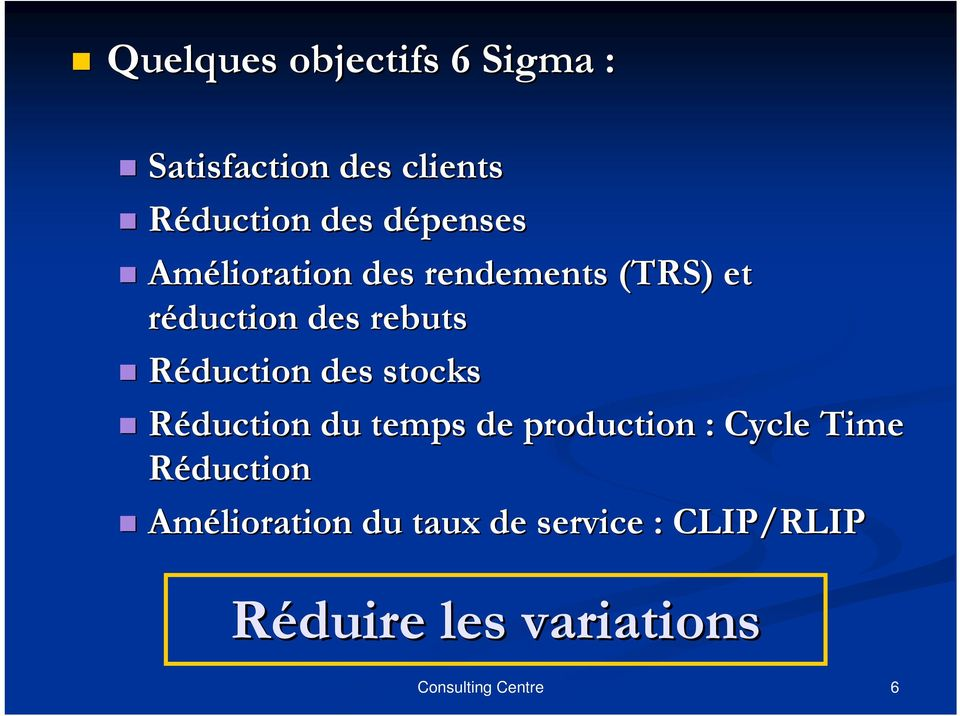 Réduction des stocks Réduction du temps de production : Cycle Time