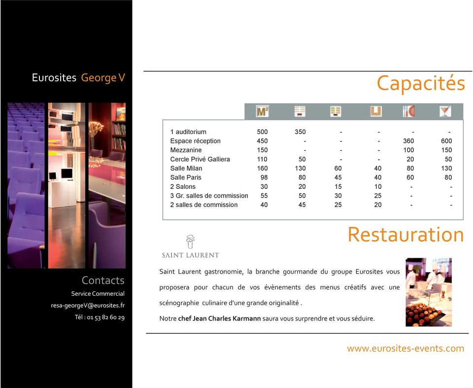 salles de commission 55 50 30 25 - - 2 salles de commission 40 45 25 20 - - Restauration Saint Laurent gastronomie, la branche gourmande du