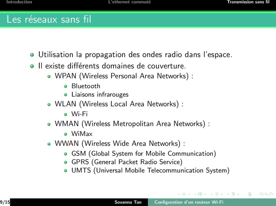 (Wireless Metropolitan Area Networks) : WiMax WWAN (Wireless Wide Area Networks) : GSM (Global System for Mobile