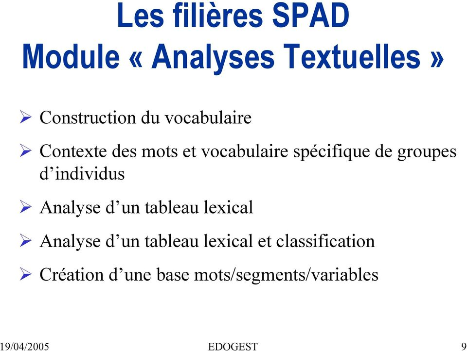 individus Analyse d un tableau lexical Analyse d un tableau lexical et