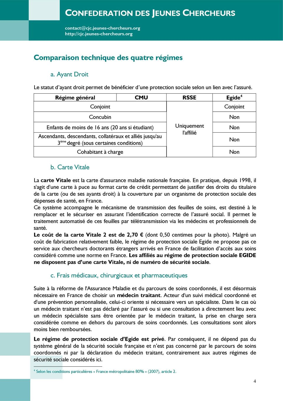 conditions) b. Carte Vitale Cohabitant à charge Uniquement l'affilié La carte Vitale est la carte d'assurance maladie nationale française.