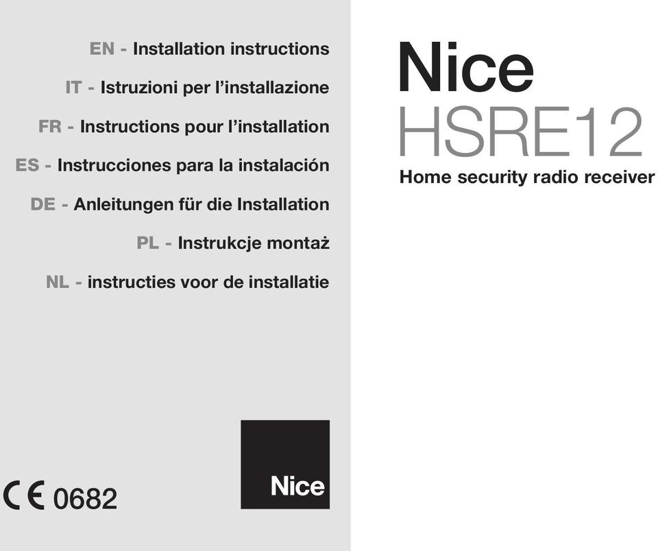 DE - Anleitungen für die Installation Nice HSRE12 Home security radio