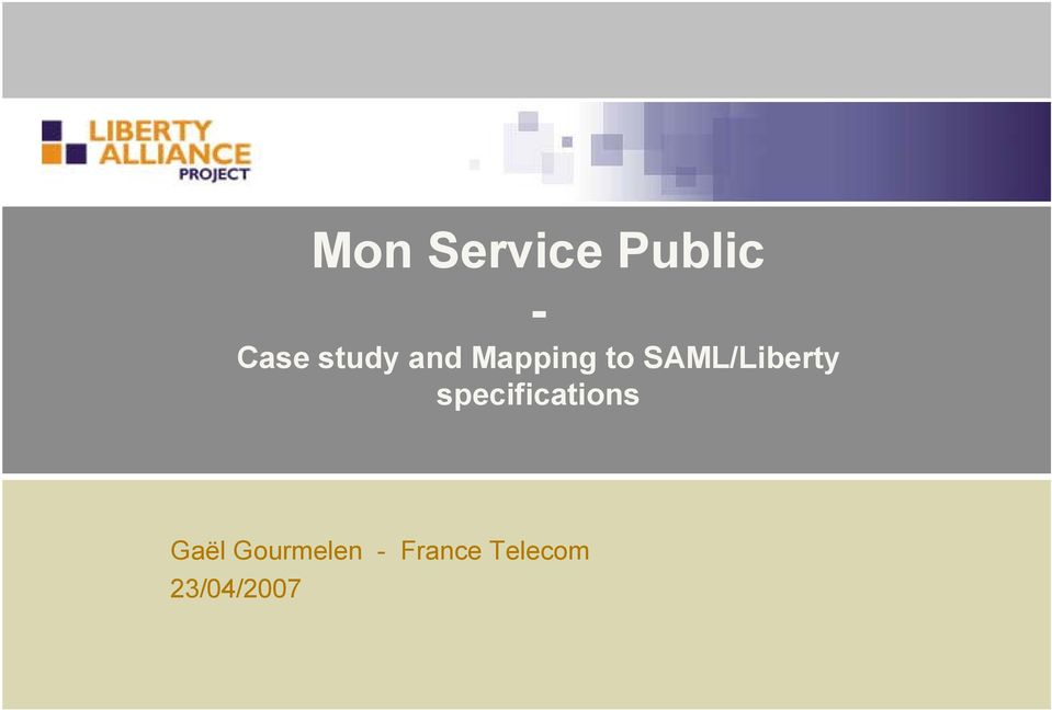 SAML/Liberty specifications
