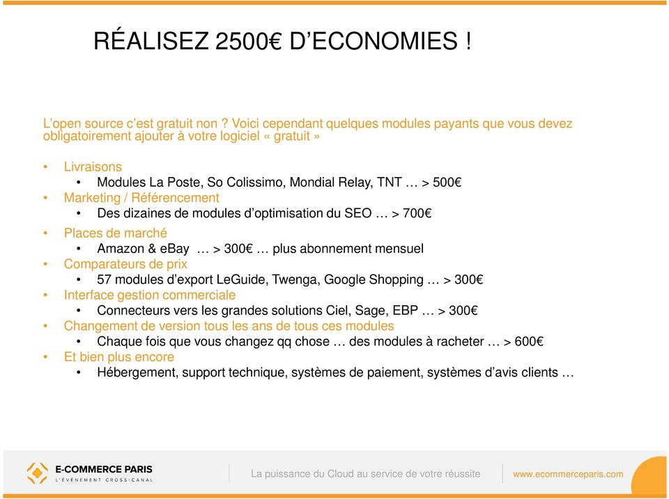 Référencement Des dizaines de modules d optimisation du SEO > 700 Places de marché Amazon & ebay > 300 plus abonnement mensuel Comparateurs de prix 57 modules d export LeGuide, Twenga,