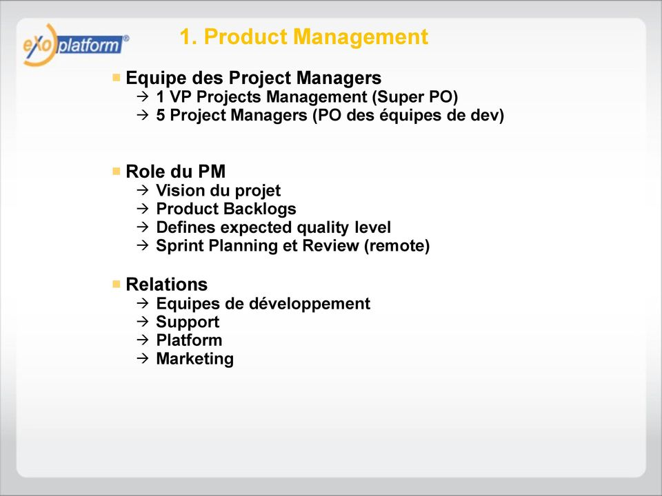 projet Product Backlogs Defines expected quality level Sprint Planning et