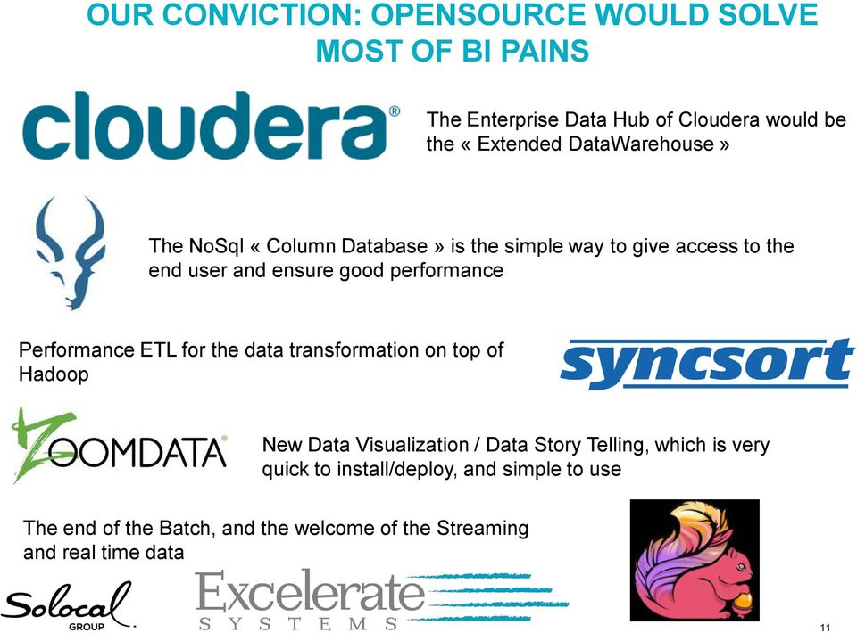 performance Performance ETL for the data transformation on top of Hadoop New Data Visualization / Data Story Telling,