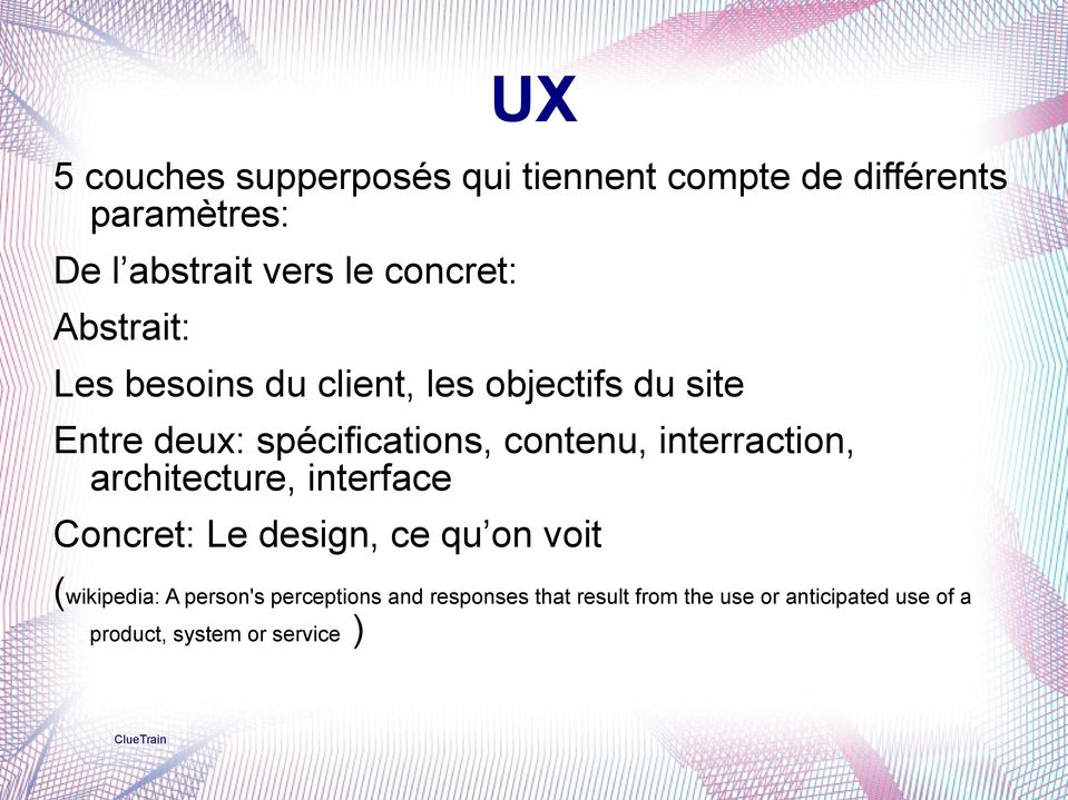 interraction, architecture, interface Concret: Le design, ce qu on voit (wikipedia: A person's