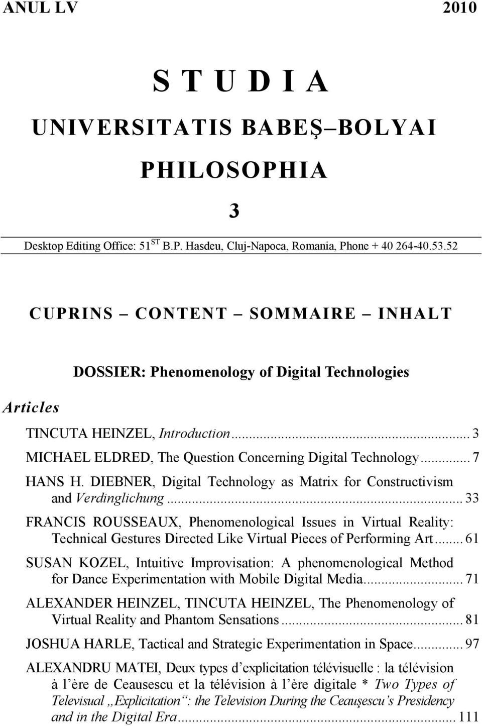 DIEBNER, Digital Technology as Matrix for Constructivism and Verdinglichung.