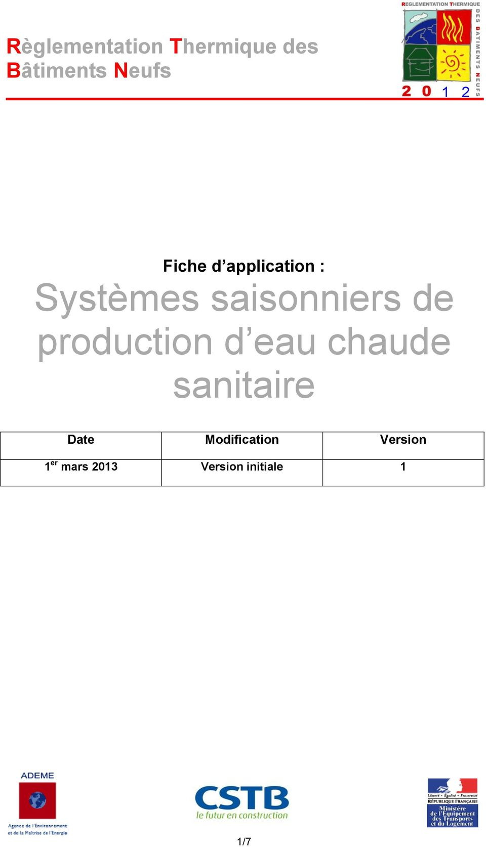 chaude sanitaire Date Mdificatin