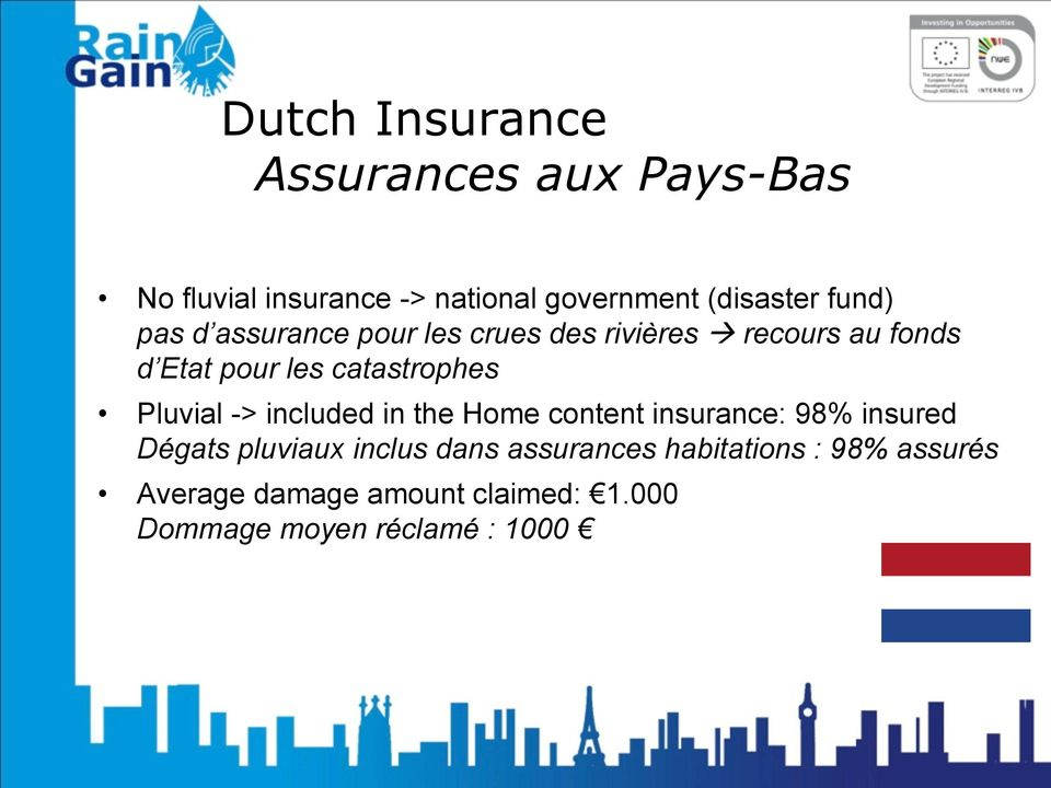 catastrophes Pluvial -> included in the Home content insurance: 98% insured Dégats pluviaux