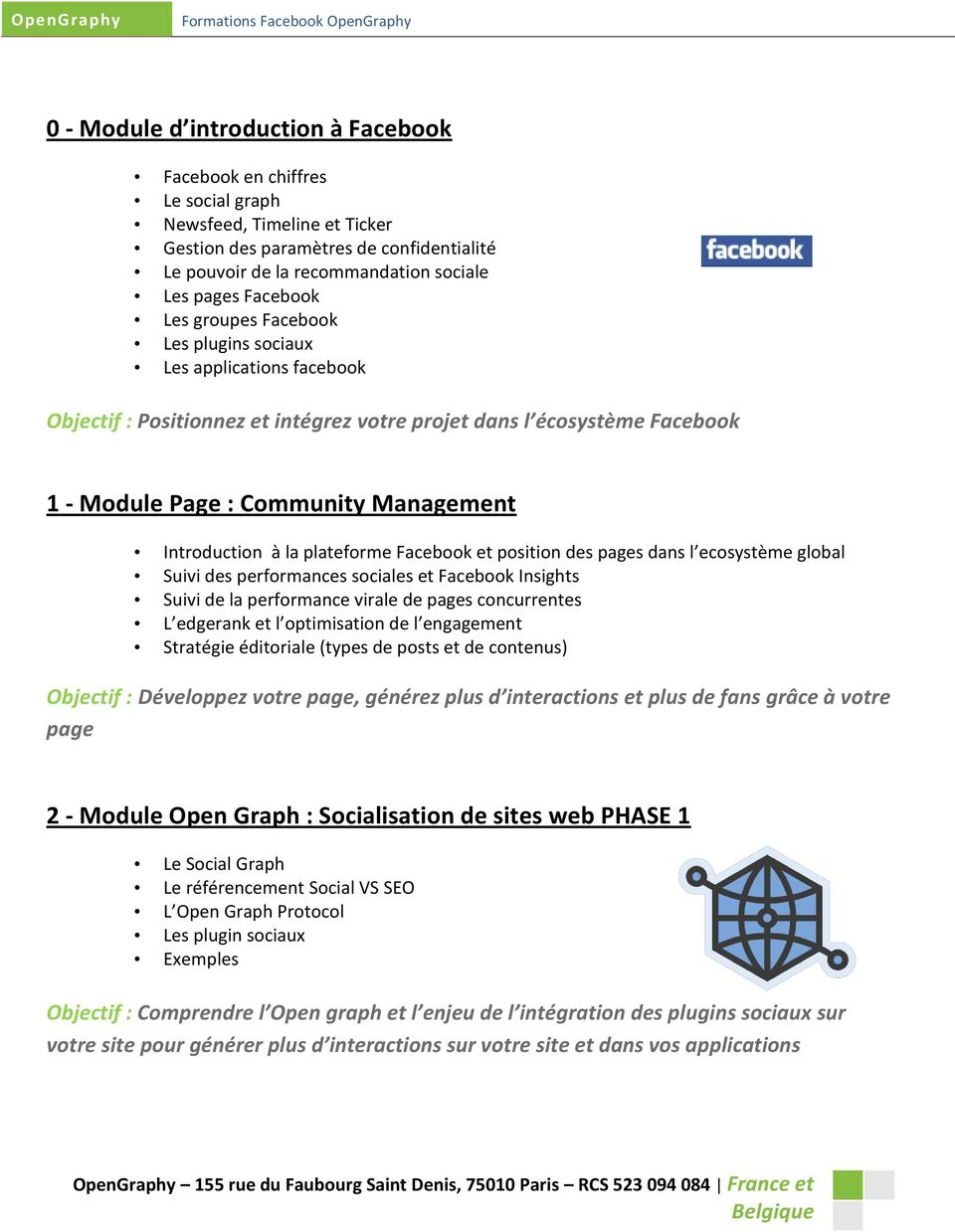 Introduction à la plateforme Facebook et position des pages dans l ecosystème global Suivi des performances sociales et Facebook Insights Suivi de la performance virale de pages concurrentes L