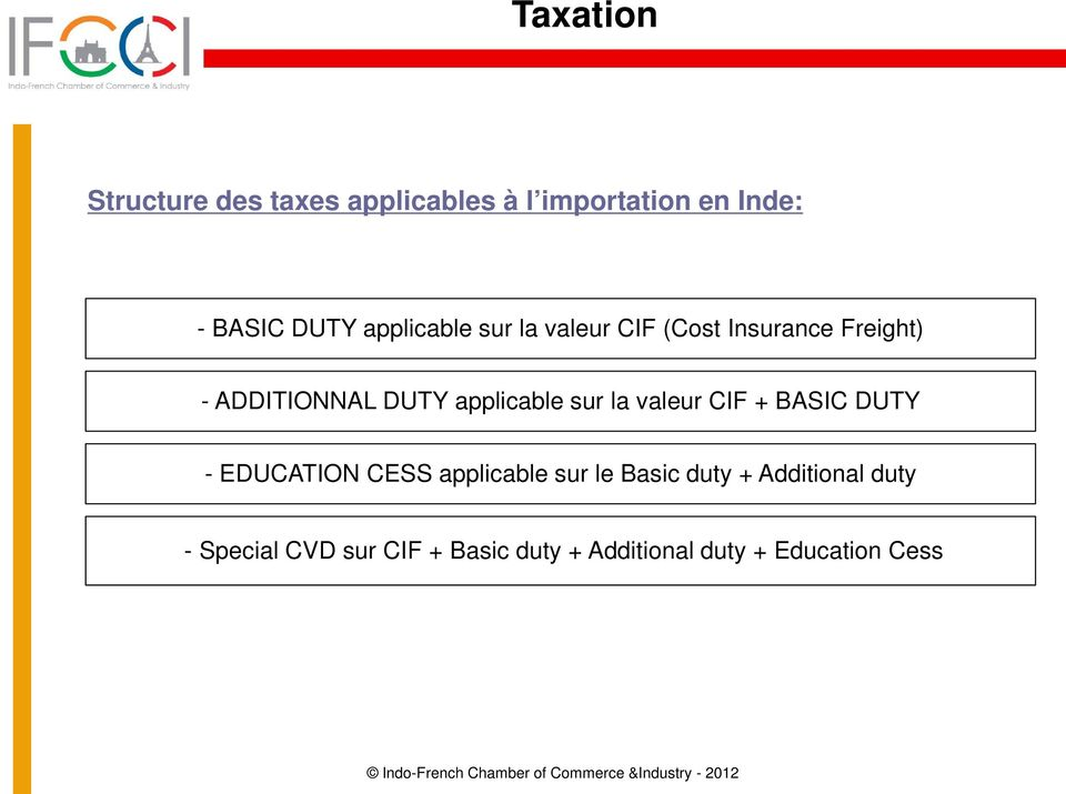 applicable sur la valeur CIF + BASIC DUTY - EDUCATION CESS applicable sur le