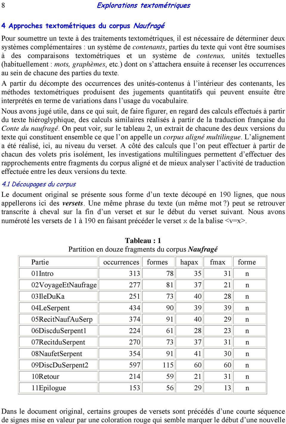 ) dont on s attachera ensuite à recenser les occurrences au sein de chacune des parties du texte.