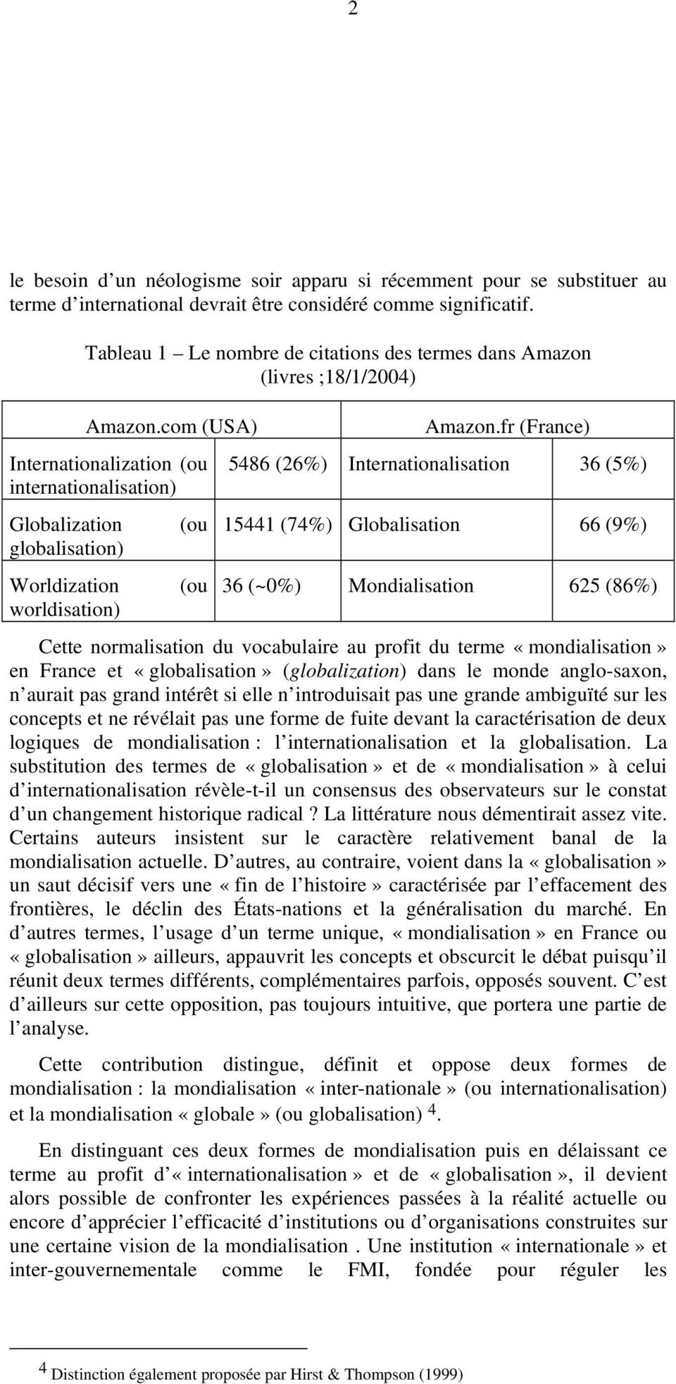 fr (France) Internationalization (ou internationalisation) 5486 (26%) Internationalisation 36 (5%) Globalization globalisation) Worldization worldisation) (ou (ou 15441 (74%) Globalisation 66 (9%) 36