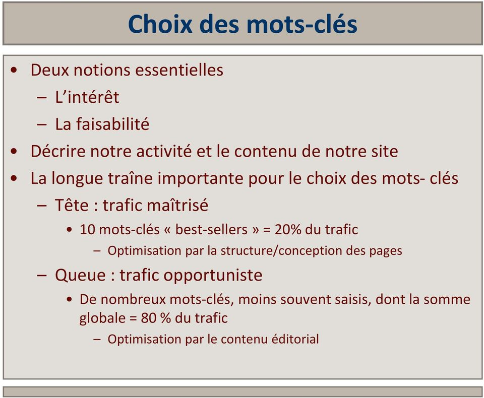 «best-sellers» = 20% du trafic Optimisation par la structure/conception des pages Queue : trafic opportuniste