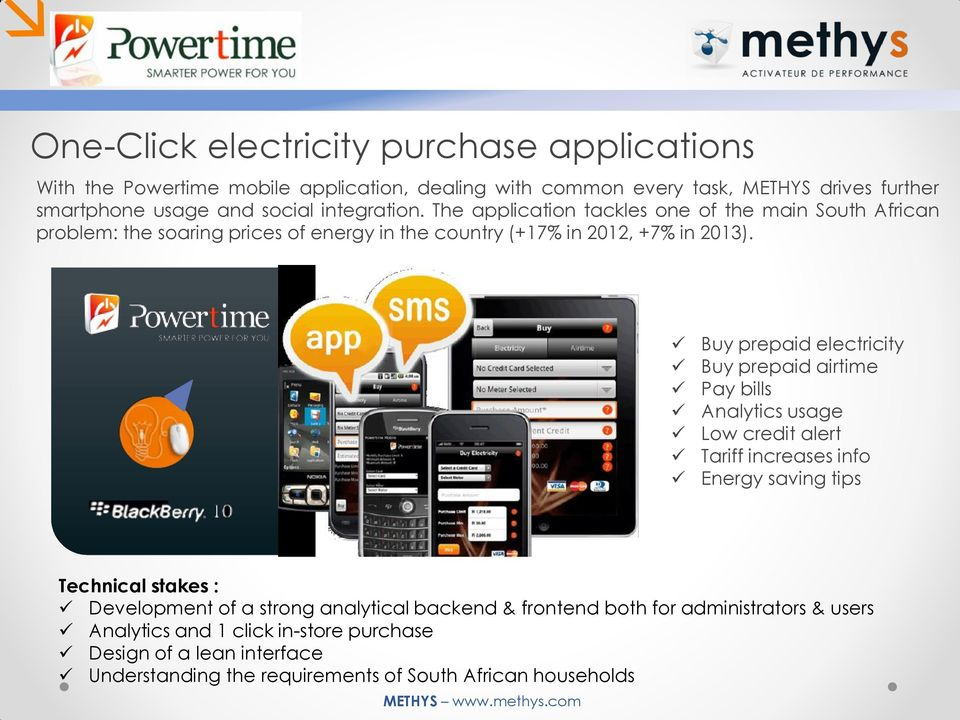 Buy prepaid electricity Buy prepaid airtime Pay bills Analytics usage Low credit alert Tariff increases info Energy saving tips Technical stakes : Development of a