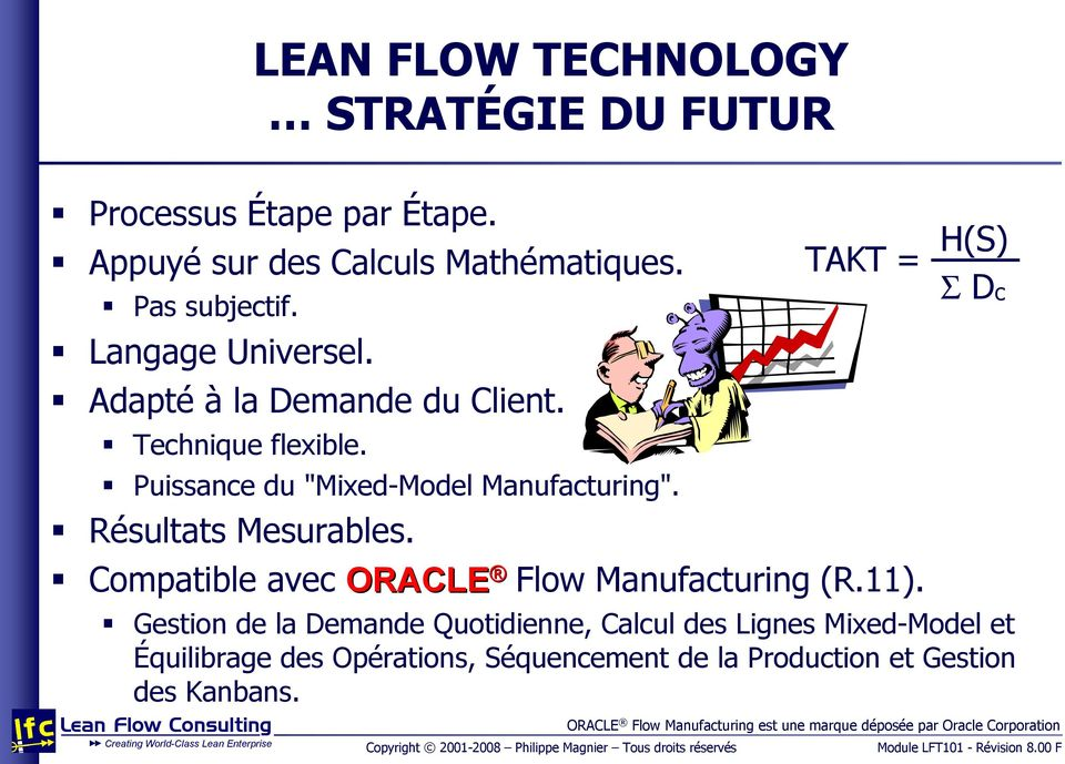 TAKT = H(S) Σ Dc Compatible avec ORACLE Flow Manufacturing (R.11).