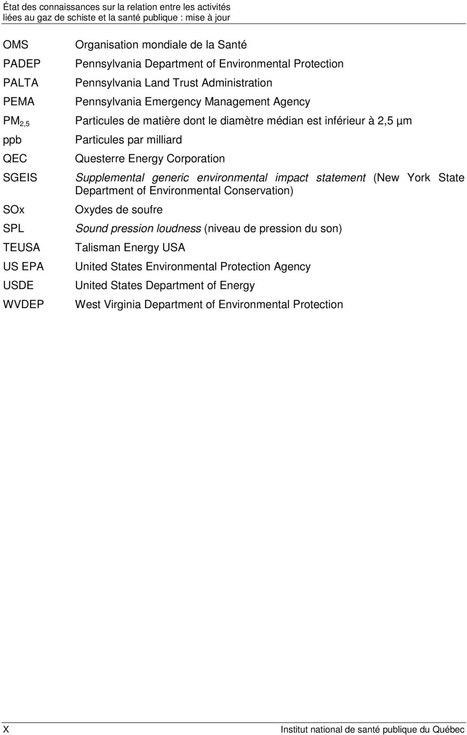 Supplemental generic environmental impact statement (New York State Department of Environmental Conservation) Oxydes de soufre Sound pression loudness (niveau de pression du son)