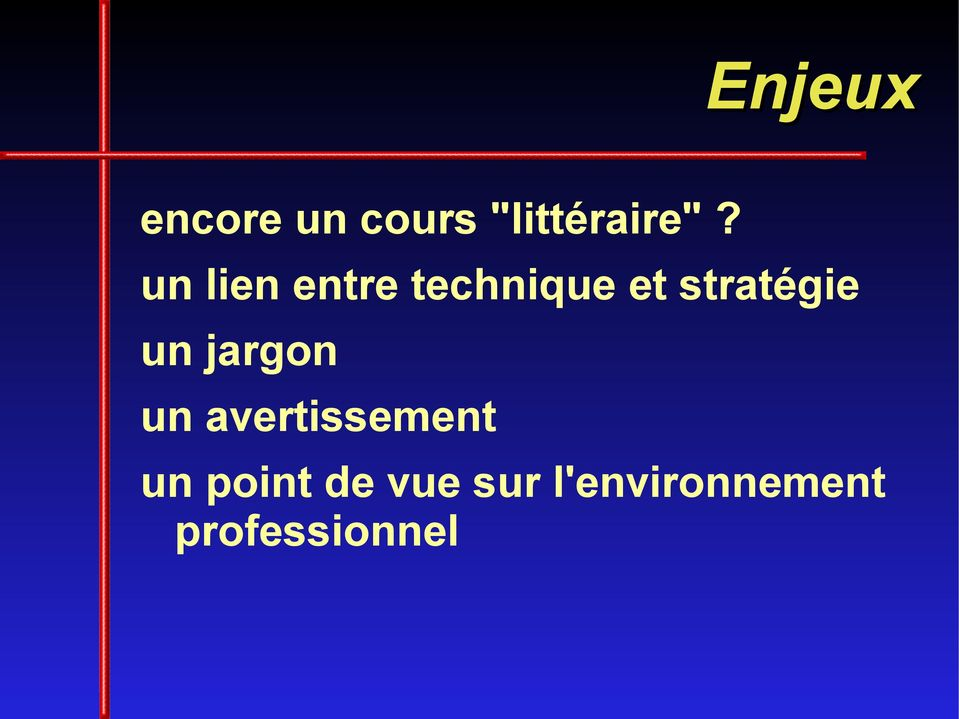 un jargon un avertissement un point